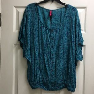Teal & Blue top with elastic waist size 1